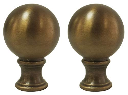 Royal Designs F-107AB-2 Small Ball Lamp Finial, Antique Brass Finish, Set of 2