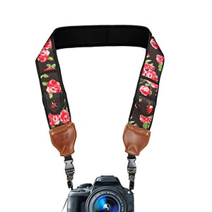 USA GEAR TrueSHOT Camera Strap with Floral Neoprene Pattern , Accessory Pockets and Quick Release Buckles - Compatible With Canon , Nikon , Sony and More DSLR , Mirrorless , Instant Cameras