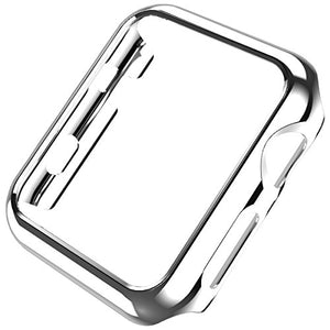 Coobes Compatible with Apple Watch Case Series 6 5/4 SE 44mm 40mm, Ultra-Thin PC Plating Bumper Shiny Lightweight Shockproof Protector Cover Slim Frame Accessories Compatible iWatch (Silver, 44mm)