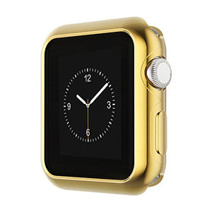 Coobes Compatible with Apple Watch Case Series 6 5 4 SE 44mm 40mm, Ultra-Thin TPU Plating Bumper Shiny Lightweight Shockproof Protector Cover Slim Shell Frame Compatible iWatch (Gold, 44mm)