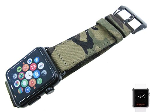 42mm Apple Watch Band Strap iWatch Smartwatch Canvas Series 1 2 3 Adapter Sports Army Military Soft Thin Panerai Screw in Buckle Fashion Trend JRRS7777 (Army Camouflage Polishing Black Buckle)