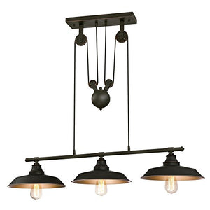 Westinghouse Lighting 6332500 Iron Hill Three Light Indoor Island Pulley Pendant, Finish With Highli