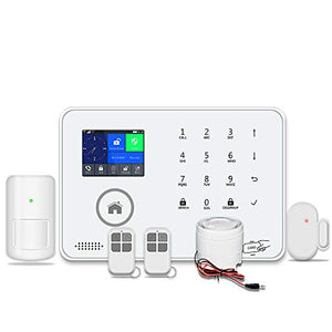433MHz Wireless 3G&GSM&WiFi Home and Business Security Alarm System, DIY Smart Alarm Systems Kits Infrared Motion Sensor Door Magnetism Alert with APP Control