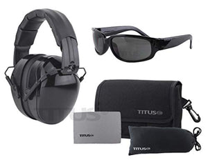 Titus Triple Black B4-26/32 NRR Noise Reduction Hearing Protection & Classic Style Safety Glasses Combos (32db Original Plain, Smoke)