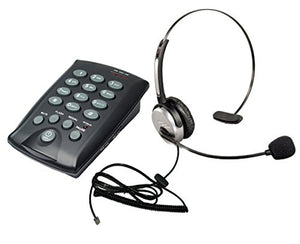 Voistek Corded Headset Telephone Dialpad with Mute for Office Call Center SOHO + Monaural Flexible Noise Cancelling Headset (H10DCHT800)