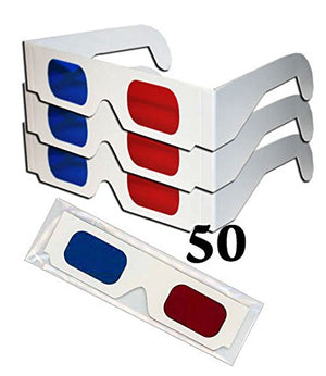Red & Monitor Blue White Cardboard Glasses 50 Pairs - each folded in reusable clear sleeve