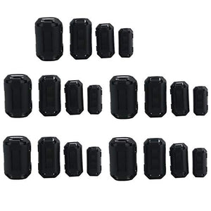 Ogrmar 20PCS EMI RFI Noise Filter Clip/ Noise Suppressor Cable Clip for 3mm/ 5mm/ 7mm/ 9mm/ 13mm Inner Diameter USB / Audio / Video Cable Power Cord (Black)