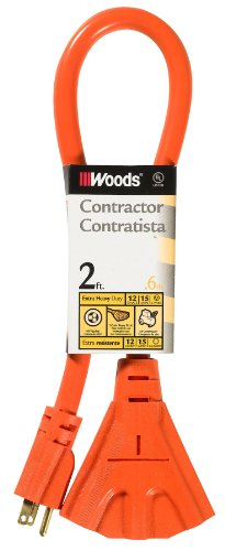 Woods 990824 12/3 Outdoor Multi-Outlet Extension Cord, 2-Foot, Orange