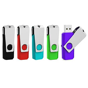 Aiibe 5pcs 16GB USB 2.0 Flash Drive Memory Stick Thumbdrives (Mixed Color : Black Red Cyan Green Purple)