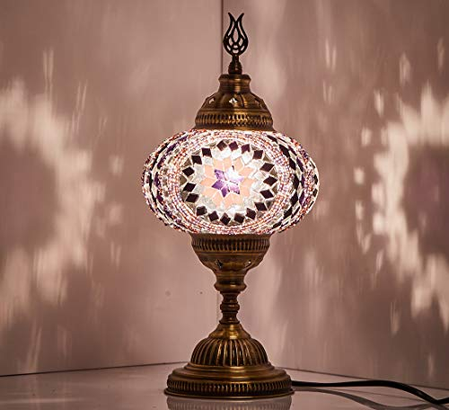 New BOSPHORUS Stunning Handmade Turkish Moroccan Mosaic Glass Table Desk Bedside Lamp Light with Bronze Base Purple