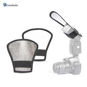 LimoStudio Two-Sided Flash Light Diffuser, Silver/White Reflector for Photo and Video Shooting, AGG2633