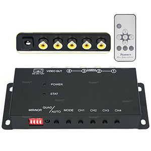 ToughstyTM 4Ch Mini Color Video Quad Splitter Multiplexer Processor Switcher for CCTV Security Camera