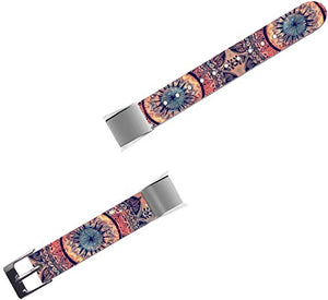 Band For Fitbit Alta HR - Leather Strap Replacement Compatible For Fitbit Alta / Alta HR Small & Large - Ancient Floral Pattern