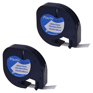 SuperInk 2PK LetraTag Label Tape Compatible for DYMO 91331 91201 91221 59422 S0721610 Plastic Black on White (12 mm x4 m, 1/2 inch x 13 feet) use in Dymo LetraTag Plus LT100H LT100T QX50 Label Maker