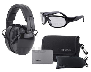 Titus Triple Black B4-26/32 NRR Noise Reduction Hearing Protection & Classic Style Safety Glasses Combos (32db Original Plain, Clear)