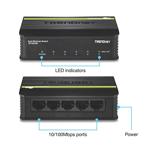 TRENDnet 5-Port Unmanaged 10/100 Mbps GREENnet Ethernet Desktop Plastic Housing Switch, 5 X 10/100 Mbps Ports, 1Gbps Switching Capacity, TE100-S5