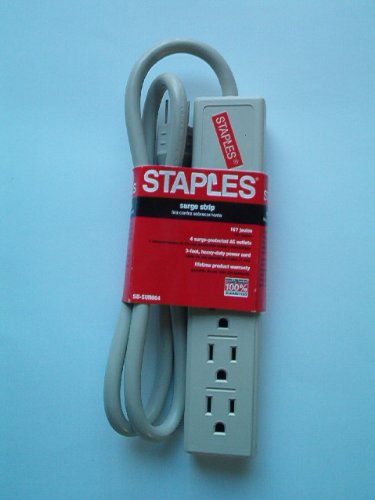 Staples Surge Strip, 167 Joules, 4 Outlets