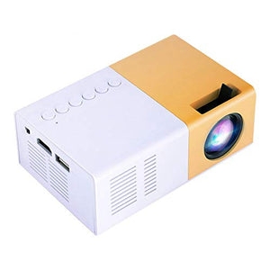 ASHATA Portable LED Projector,Home Cinema Projector Support 1080P HD Displaying,Mini Stylish HD Projector Support HDMI, AV, VGA, USB, Micro SD Input and 3.5mm Earphone Port(White + Yellow)