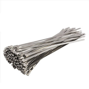 Vktech 100pcs Stainless Steel Exhaust Wrap Coated Locking Cable Zip Ties 4.6*200mm