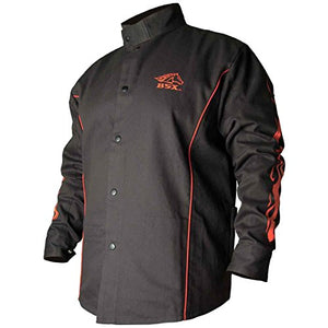 Black Stallion Bsx Fr Welding Jacket   Black W/Red Flames   Medium