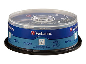 Verbatim M Disc Dvd R 4.7 Gb 4 X With Branded Surface   25pk Spindle   98908, Blue