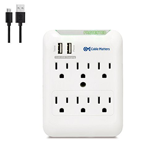 Cable Matters 6 Outlet Wall Mount Surge Protector with USB Charging in White (Updated Version with Dimmed LED Light)
