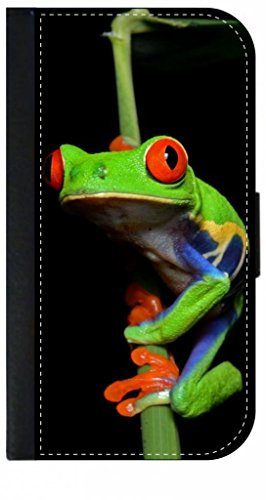 Climbing Tree Frog Leather-Look Samsung Galaxy S4 I9500 Wallet Case with Closing Flip Cover and Credit Card Slots
