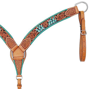 Rafter T Ranch Co Painted Cactus Contoured Breast Collar