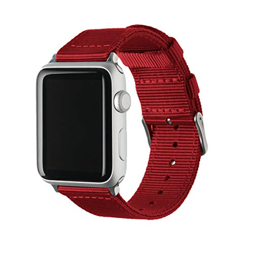 Archer Watch Straps - Premium Nylon Replacement Bands for Apple Watch (Red, Stainless, 42/44mm)