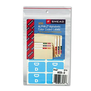 Alpha-Z Color-Coded Second Letter Labels, Letter A, Red, 100/Pack [Set of 2] Label/Color: Letter D, Light Blue