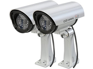 Rosewill Fake Security Surveillance CCTV Dummy Camera (2-PK), with LED Light & Warning Security Alert Sticker