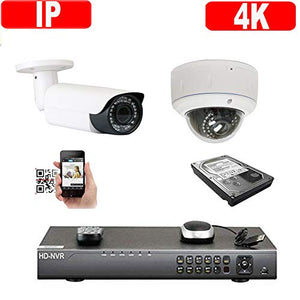 Amview 4Channel 4K H.265 NVR 2592x1920P 5MP 2.8-12mm Varifocal Zoom Lens PoE IP 2pcs Dome/Bullet Security Camera System