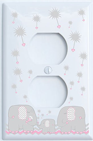 Grey and Pink Dandelion Elephant Outlet Switch Plates Covers/Elephant Nursery Decor (Pink Outlet)