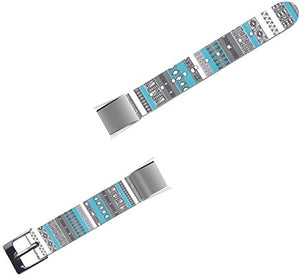 Band For Fitbit Alta HR - Leather Strap Replacement Compatible For Fitbit Alta / Alta HR Small & Large - Colorful Beautiful Blue Striped Grid Personalized Art