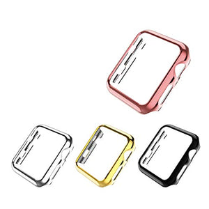 Leotop Compatible with Apple Watch Case 44mm 40mm,Super Thin PC Plated Bumper Protector Shiny Cover Lightweight Shell Shockproof Frame Accessories Compatible iWatch Series 6 5 4 SE (4 Color Pack,40mm)
