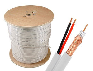 Sewell Direct SW-23481 Bulk RG59 Power Siamese Cable, 500 Feet Spool, 18 AWG, Braid and Foil Shield, White