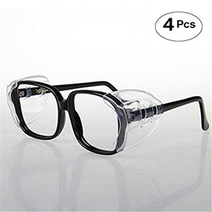 VIEEL Safety Glasses Side Shields, Slip-On Clear Safety Glasses Side Shield for Small to Medium Eyeglasses Frames (2 Pair)