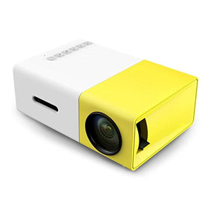 Portable Mini LED Projector 400-600LM 320 x 240 Home Theater LCD Projector for Video Movie Game Home Entertainment with USB/SD/AV/HDMI Input (Yellow)