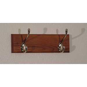 Wooden Mallet 12-Inch 2-Brass Hook Coat Rack, Medium Oak