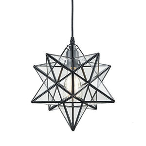 YOBO Lighting Transparent Glass Moravian Star Pendant Chandelier, 12 Inch
