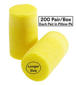 3M Ear Plugs, E-A-R Classic Plus 310-1101, Foam, Uncorded, Disposable, NRR 33, For Drilling, Grinding, Machining, Sawing, Sanding, Welding, Slightly Longer Ear Plug, 1 Pair/Pillow Pack, 200 Pair/Box