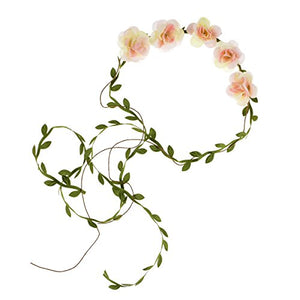 DDazzling Flower Girl Halo Floral Wreath Headband Floral Garland Headbands Photo Props (Ivory Pink)