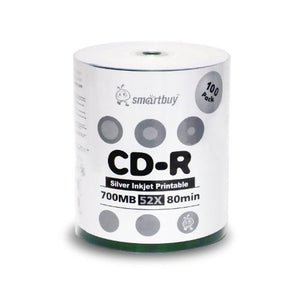 Smart Buy CD-R 100 Pack 700mb 52x Printable Silver Inkjet Blank Recordable Discs, 100 Disc, 100pk