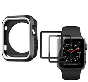 Carvesky Apple Watch Case Protector 38mm for Series 2 & 3+Apple Watch Screen Protector(2pack),Full Coverage Scratch Proof Screen Film HD Clear for Apple iWatch