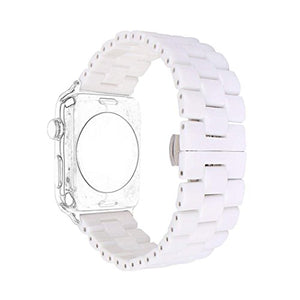Ceramic Band Strap Fashionable Smartwatch Wristband Bracelet Compatible with 44mm Apple Watch Series 5/4, 42mm Apple Watch Series 3/2/1 (White,Style 2)