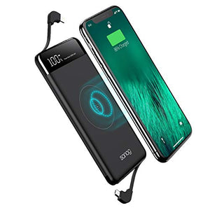 Wireless Portable Charger,Portable Charger Power Bank,SANAG 10000mAh Wireless Battery Pack with Micro USB to Type-C Adapter Ports and LED Displaly,Built in Cables for iPhone,iPad,Samsung and More