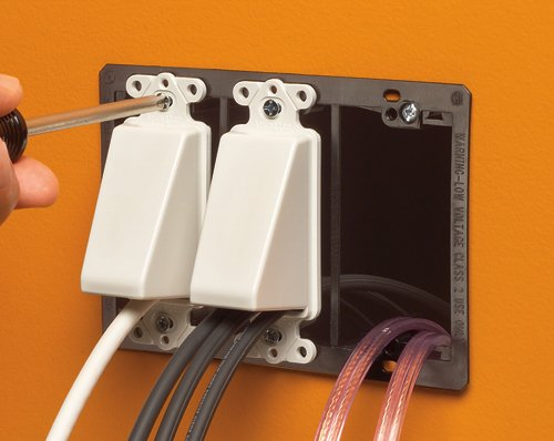 Arlington CED1-10 Cable Wall Plate Insert, Hide Wires, 1-Gang, White, 10-Pack