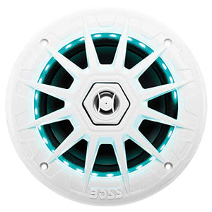 BOSS Audio Systems MRGB65 6.5 Inch Marine Speakers - Weatherproof, 200 Watts Per Pair, 100 Watts Each, Multi-Color Illumination, Full Range, 2 Way, Sold in Pairs
