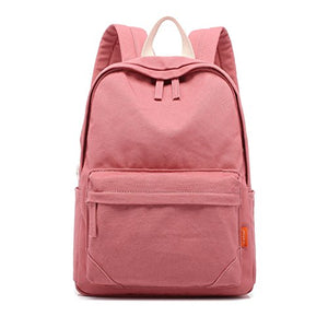 Tom Clovers Canvas Backpack Rucksack Weekender Bag Laptop Bag School Backpack Pink