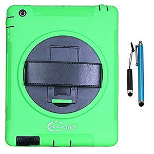 Cellular360 Shockproof Case for Apple iPad 2 iPad 3 iPad 4, Protective and Handy Case with a 360 Degree Rotatable Kickstand and Handle (Green)
